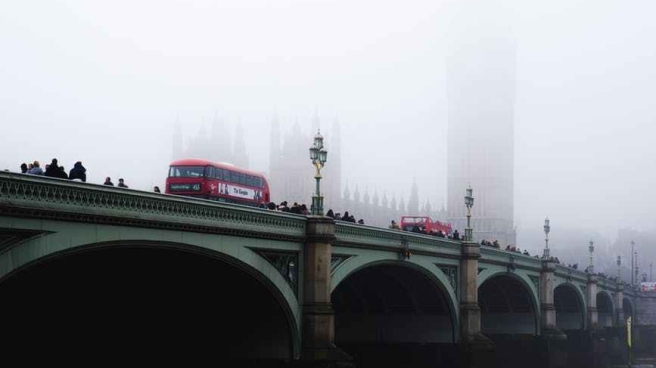 people and vehicles on bridge